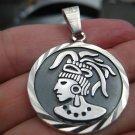925 Silver Mayan Calendar Aztec Deity Pendant Necklace Taxco Mexico A7036