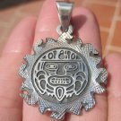 925 Silver Mayan Aztec Authentic Taxco Mexico Pendant Necklace A53748