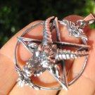 925 Silver Goat Baphomet Inverted Satanic Pentagram Pendant Necklace A14