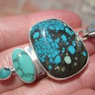 925 Silver Natural Arizona Turquoise Pendant Necklace Taxco Mexico A574