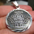 925 Silver Mayan Aztec God Mayan Calendar Pendant Necklace Taxco Mexico A7041