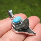 925 Silver Arizona Turqouise Shark Tooth Fossil Pendant Nepal Jewelry A4532