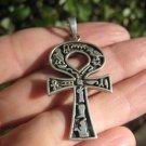 925 Large Silver Ankh Egyptian Cross Cruz Ansata Pendant Necklace  A36