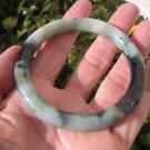 Natural Green Grey Black Jadeite Jade Stone Bangle Bracelet Myanmar A740