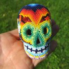 Huichol Bead Indian Skull Day of the Dead Statue Art Hand Made Mexico A8
