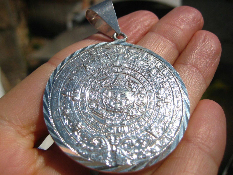 .950 Silver Pendant Mayan Calendar, Necklace, Taxco, Mexico A5876