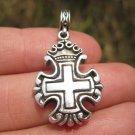 925 Silver Christian Cross Knights Templar  Crown Cross Pendant necklace A22