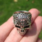 925 Silver Filigree Skull Ring jewelry Art Thailand A16
