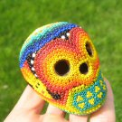 Huichol Bead Indian Skull Day of the Dead Art Hand Made Guadalajara Mexico A4