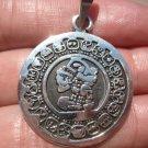 950 Fine Silver Mayan Aztec Calendar Pendant Necklace A392