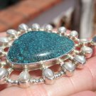 925 Silver Natural Arizona Turquoise Pendant Pearl Necklace Taxco Mexico A574