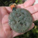 Natural Green Jadeite Jade Dragon Pendant Necklace Amulet  A815