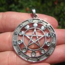 925 Silver Zodiac Calendar Moon Lunar Cycle Pentagram Pendant Necklace 23