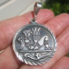 925 Silver Double Sided Mayan Aztec God Pendant Necklace Taxco Mexico A2746