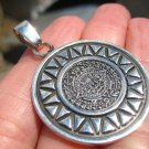 925 Silver Mayan Aztec Calendar Pendant Necklace Taxco Mexico A92567