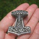 925 Silver Viking Mjolnir Mjolhner Raven Hammer of Thor Pendant Amulet  A3755