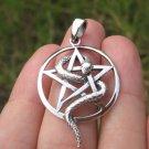 925 Sterling Silver Snake Pentagram Pentacle Pendant necklace Jewelry Art A8