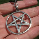 Large 925 Sterling Silver Wicca Inverted Pentagram Pendant A2574 ( Discounted )