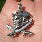 925 Silver Skull Pirate and Cutlass Pendant Necklace A2769