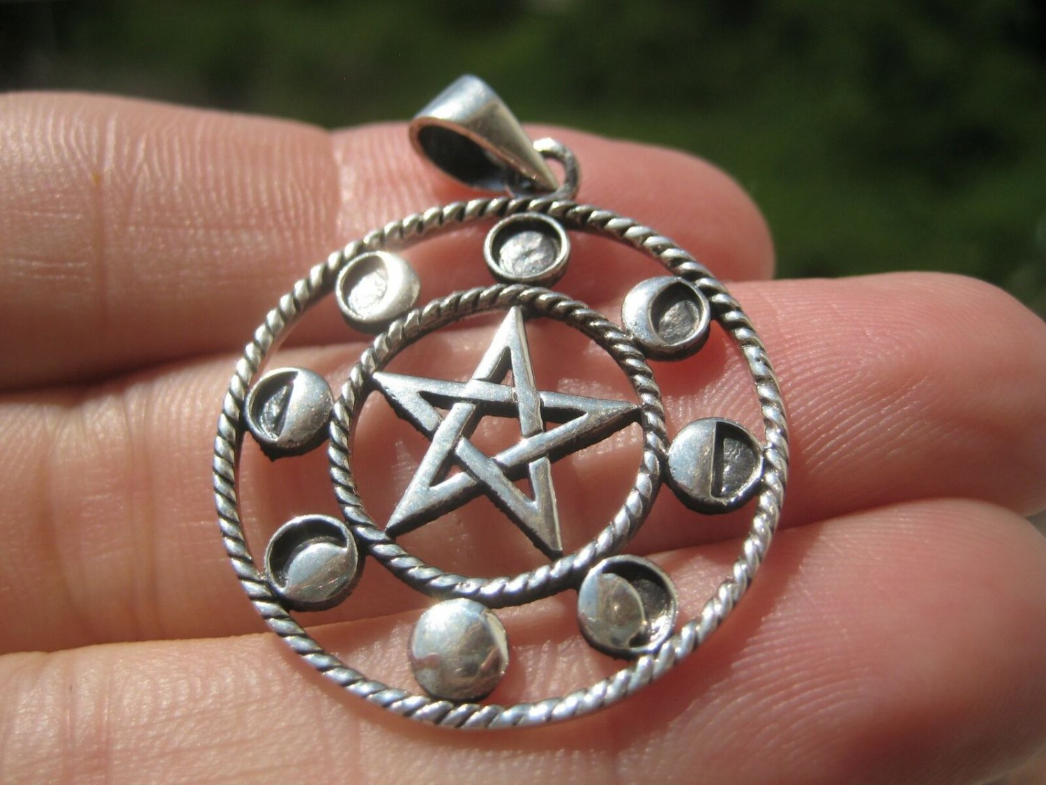 925 Sterling Silver Wicca Pentagram Star Moon Lunar Cycle A28