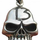 925 Sterling Silver Skull Lucky Thirteen pendant necklace jewelry Thailand A4