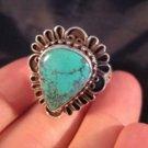 925 Silver Tibetan Turquoise stone Ring jewelry art Nepal Size 10 US