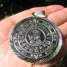 Large 950 Silver Mayan Calendar Pendant Necklace Taxco Mexico A8343
