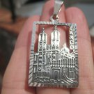925 Silver Santa Prisca Church Pendant Taxco Mexico A5305