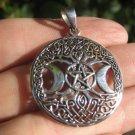 925 Silver Pentagram Double Moon Celtic Pendant Thailand Jewelry Art A487