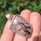 925 Silver Natural Black Rutile Quartz Stone Pendant Necklace Jewelry Art E57100