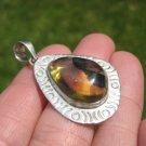 925 Silver Chiapas Amber Pendant Taxco Mexico A8467