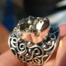 925 Silver Pyrite Mineral Ring Size 7.5 US to 8 US slighly adjustable A8621