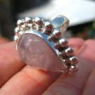 .925 Silver ring Rose Quartz ,Taxco, Mexico, Size 8 US Adjustable A5788