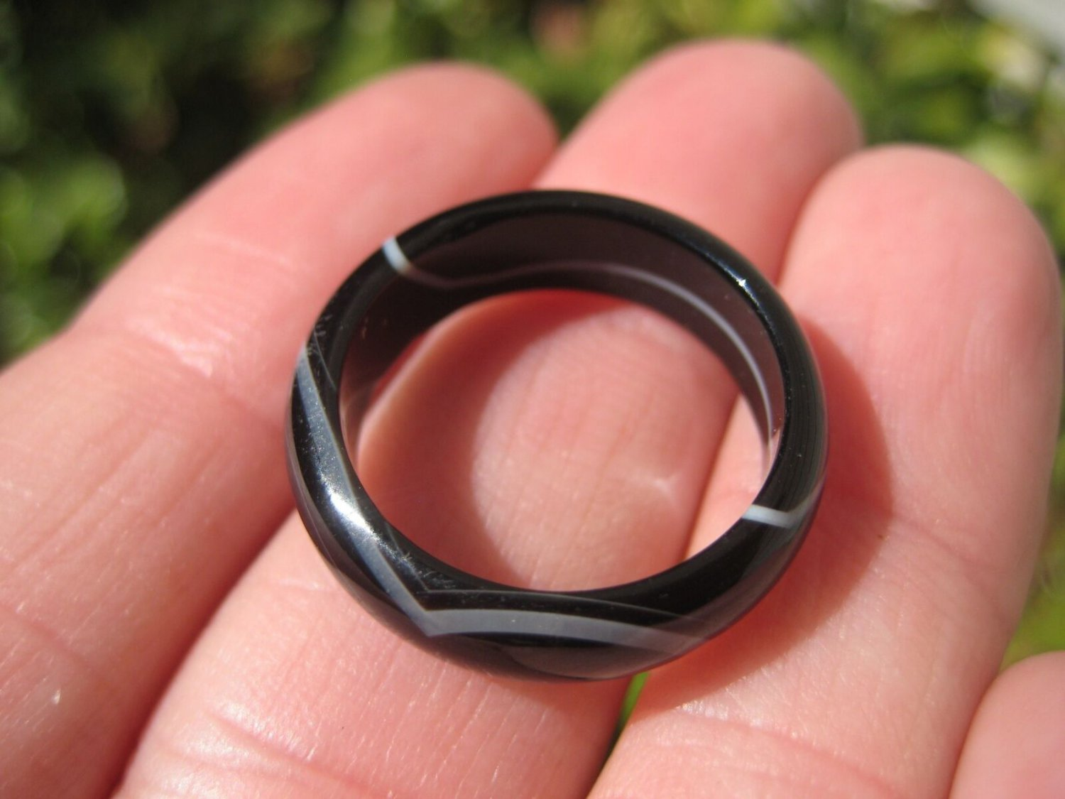 Natural Black Agate Ring Thailand Jewelry Art Size 7 US A11