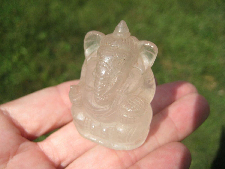 Natural Quartz Crystal Ganesh Ganesha Elephant God Statue A2855