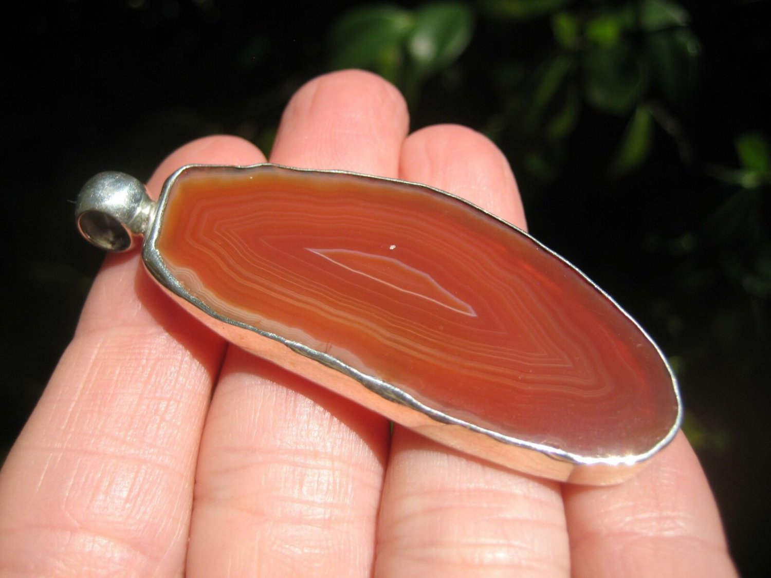 925 Silver Red Agate Pendant Necklace Taxco Mexico A9275