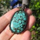 Tibetan Turquoise Pendant Necklace Thailand Jewelry art A806