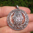 925 Silver Hamsa Hand Of God Protection Amulet Pendant Necklace A6
