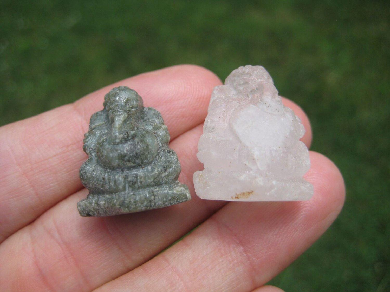 Set 2 Jade and Quartz Ganesh Ganesha Stone Mineral Art  Northern Thailand A8