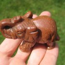 Natural Jasper gold stone goldstone Elephant Carving Statue Thailand Stone A42
