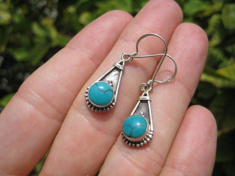 925 Silver Turquoise Earrings ( earring ) Nepal Jewelry art