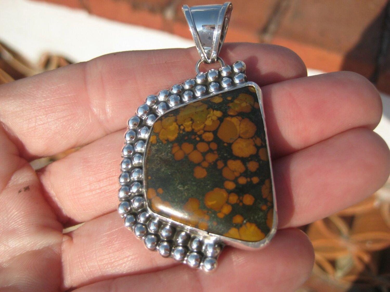 925 Silver Natural Brown Arizona Turquoise Pendant Necklace Taxco Mexico UN579