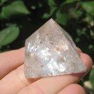 Natural quartz pyramid Mineral art carving A22