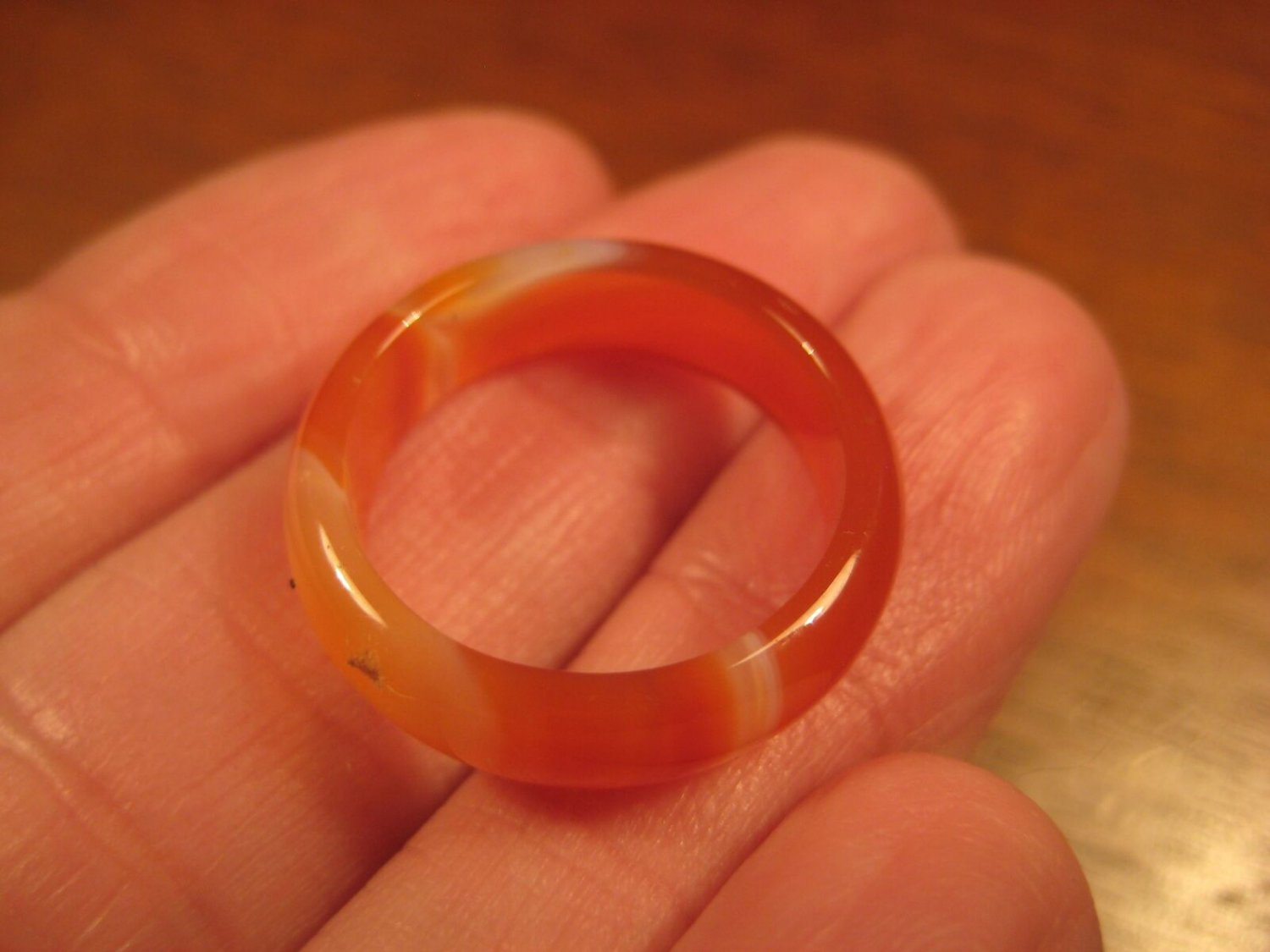 Natural Agate Carnelian Stone Ring Thailand Jewelry Size 7 A705