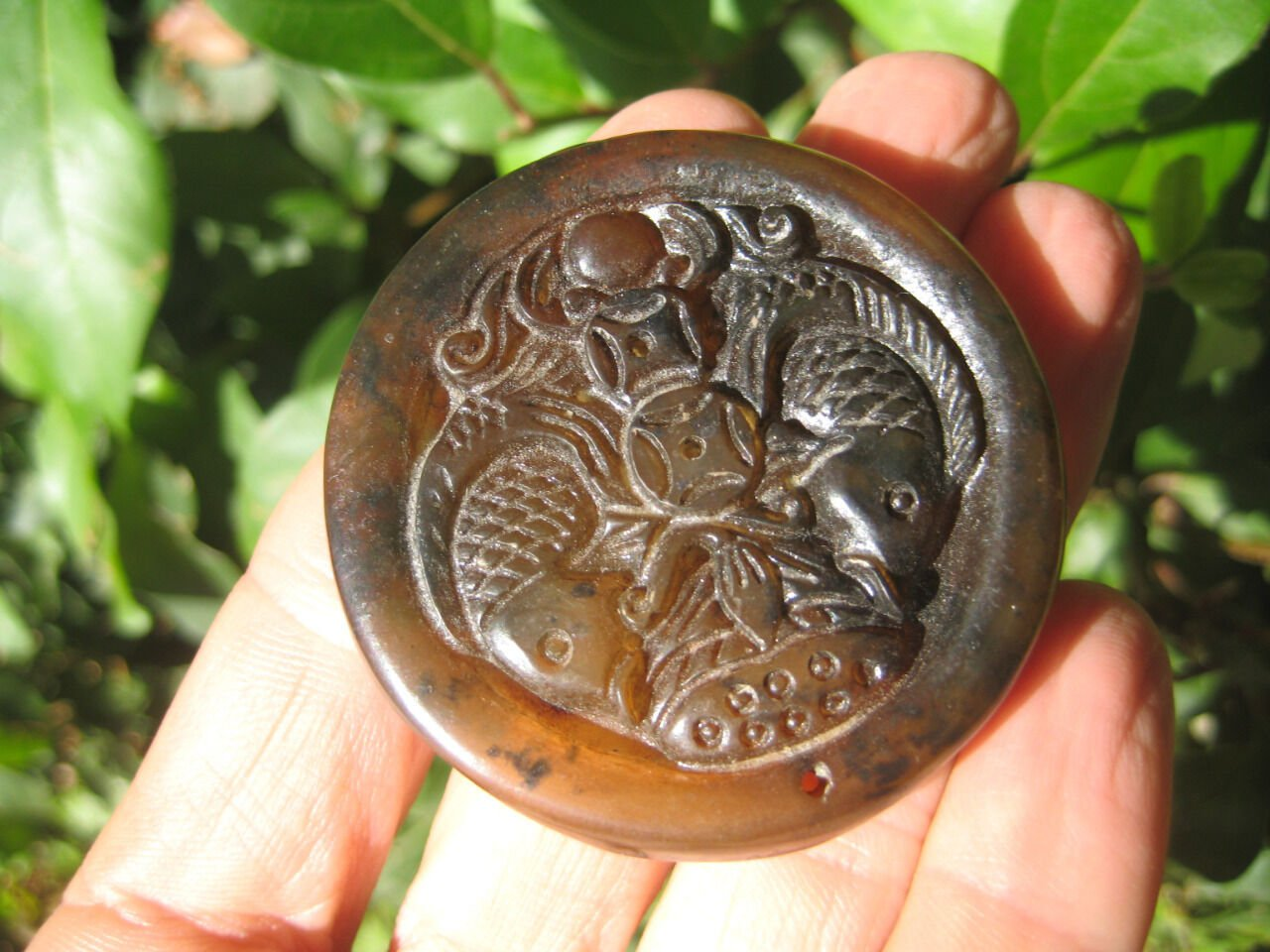 Natural agate Carnelian Onyx JadeGold Fish Carp stone pendant amulet A37