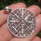 925 Silver Viking Norse Celtic Trident Aegishjalmur Helm of Awe Pendant A24