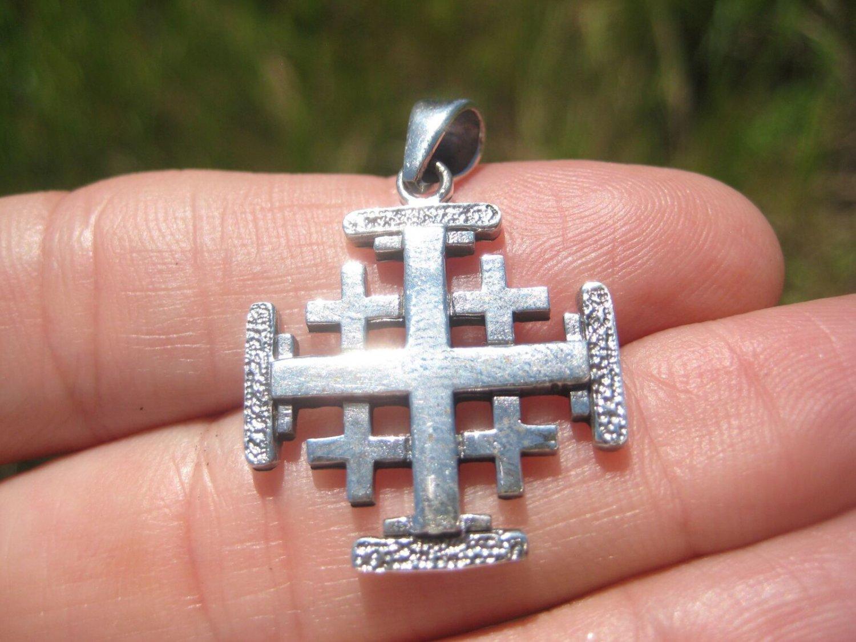 925 Sterling Silver Five fold Cross Crusaders Cross Medal A18