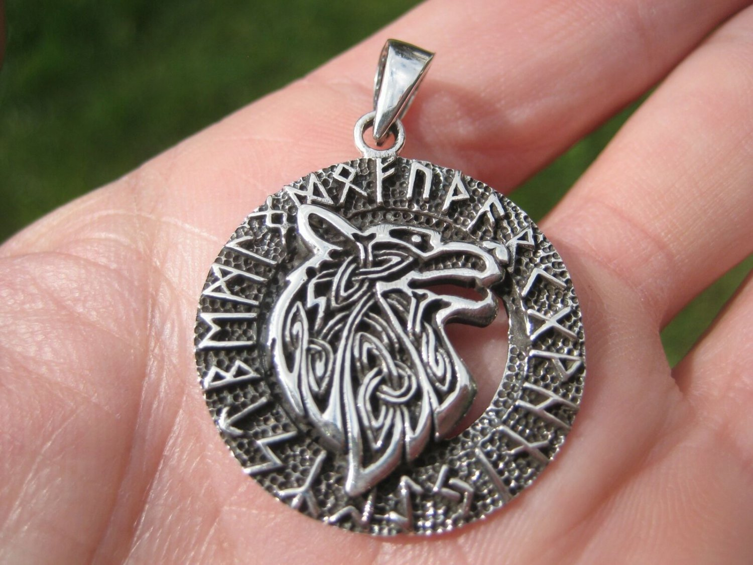 925 Silver Celtic Viking Norse Runes Wolf Pendant Necklace A3688