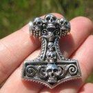 925 Silver Viking Mjolnir Mjolhner Skull Hammer of Thor Pendant A33