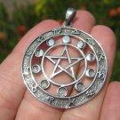 925 Silver Ohm Zodiac Calendar Spiritual Symbol Pendant Necklace 26